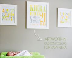 Custom artwork done in orange, green, gray, and yellow. If you don't see the colors that match your nursery, please don't be shy! Ask us to customize.