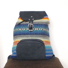 #Handmade #ladies #backpack made of genuine #leather backpack and 100% hand-spun natural wool and leather. The woven part is made on a Bulgarian vintage traditional loom and then is assembled with the leather part. The inside is made of high quality lining, there is a small inside zipper pocket with zipper for your small personal belongings. Adjustable straps