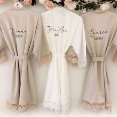Bridal robe lace - CATHERINE satin and lace bridal robes in standard and plus sizes and child sizes, wedding robe with lace for bridesmaids Bridesmaid Gifts From Bride, Bridesmaid Proposal Gifts, Bridesmaids And Groomsmen, Bridesmaid Silk Robes, Brides Maid Gifts, Bridesmaid Gifts Will You Be My, Luxury Bridesmaid Gifts, Bridesmaid Gift Boxes, Bridesmaid Dresses