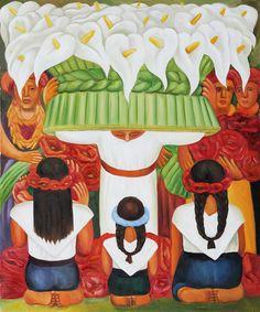 Flower Festival: Feast of Santa Anita (1931) by Diego Rivera
