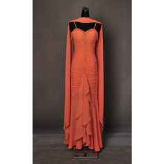 Marilyn Monroe Gentlemen Prefer Blondes Orange Ball Gown Dress Cosplay... ($550) ❤ liked on Polyvore featuring costumes, cosplay halloween costumes, marilyn monroe costume, red costumes, orange halloween costume and role play costumes