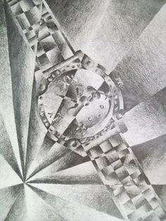 Shattered Images - futurism, cubism - tonal value, still life, observational drawing - yr Shatter Image, Sword Drawing, Art Classroom Management, Middle School Art Projects, 8th Grade Art, Value In Art, Observational Drawing, Library Art, Jr Art