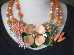 Statement Necklace, Upcycled, Vintage Enamel Flowers, Peach, Coral, Pink, Flower Power, Bridal Necklace, OOAK - Coral Delight