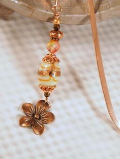 Beaded Bookmark Copper Lampwork bead glass beads by CKDesignsUS, $8.25