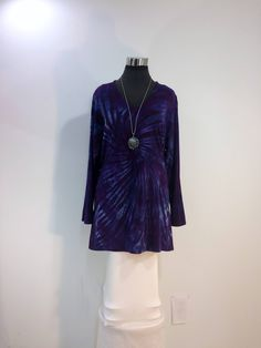 Plus sizes 2X & 3X purple tie dye tunic top with V-neck and long sleeves in bamboo blend fabric. by qualicumclothworks on Etsy