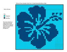 Single Hibiscus Flower Chart Dark Blue on Blue version by The Erssie Knits Collection, via Flickr