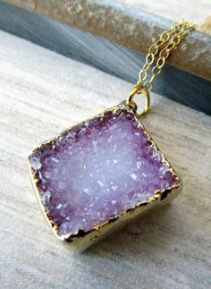 Purple druzy pendant necklace dipped in 14kt
