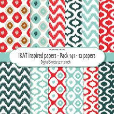 Ikat inspired Digital scrapbook printable paper pack