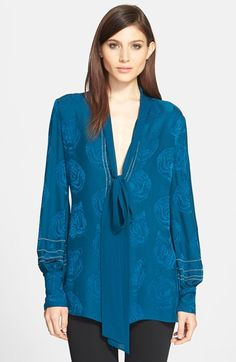 Roberto Cavalli Tie Neck Tiger Print Crepe Blouse with Chain Detail available at #Nordstrom