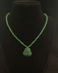 Antique Jade Bead Necklace With Jade Buddha 18 Inches Antique Jade, Beaded Necklace, Pendant Necklace, Jade Beads, Jade Green, Hand Carved, Buddha, 18th, Antiques