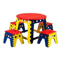 Martin Kids Legacy Colorful Folding Table Set with 4 Stools by Martin. $99.99. Four matching folding stools included. Table height: 18.75 inches. Colorful folding table perfect for budding artists. Unique puzzle-piece folding design tucks away easily. Bold yellow, blue, and red block color scheme. Designed with preschool art projects in mind, the Martin Kids Legacy Colorful Folding Table Set with 4 Stools keeps creativity at the center. This heavy-duty indoor/...