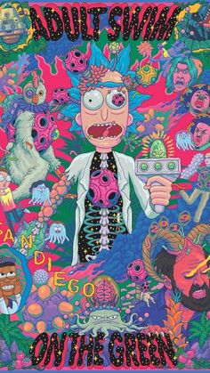 Hippie Wallpaper, Trippy Wallpaper, Retro Wallpaper, Cartoon Wallpaper, Pintura Hippie, Trippy Painting, Hippie Painting, Rick And Morty Poster, Posters Vintage