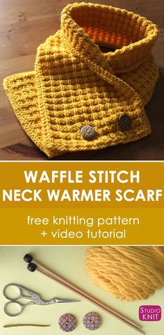 Knit a Waffle Neck Warmer Scarf inspired by Eleven's Stranger Things Eggos. Learn how to knit this fashionable knitted scarf with free knitting pattern and video tutorial by Studio Knit. via @StudioKnit #StudioKnit