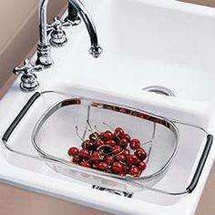 This seems extremely useful. The Container Store > Stainless Steel Mesh Sink Basket