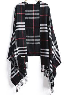 Black Plaid Tassel Scarves 12.67