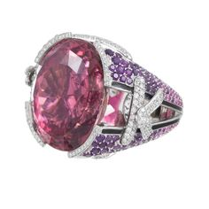 Mauboussin 41.42 Carat Pink Tourmaline Cocktail Ring | From a unique collection of vintage cocktail rings at https://www.1stdibs.com/jewelry/rings/cocktail-rings/