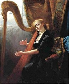 playing the harp-Therese Schwartze