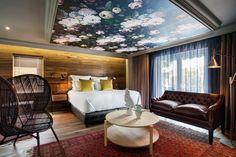 Boutique Hotel | Majeka House | Stellenbosch | Wallpaper | Bulkhead | Ceiling wallpaper | Wallpanelling | Bedroom | Ellie Cashman Wallpaper | Dark Wood | Etienne Hanekom Interiors