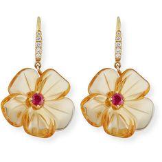Rina Limor Floral Tourmaline Drop Earrings with Diamonds XKkfqcOD