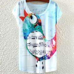 Multi-Style Print Casual Women Short Sleeve Loose Casual Shirt Tops Blouse SHM4