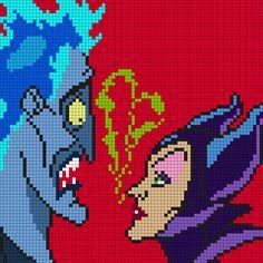 Hades And Maleficent (Square) Perler Bead Pattern / Bead Sprite Disney Cross Stitch Patterns, Pony Bead Patterns, Kandi Patterns, Pearler Bead Patterns, Peyote Stitch Patterns, Perler Patterns, Beading Patterns, Perler Bead Disney, Pixel Art Templates