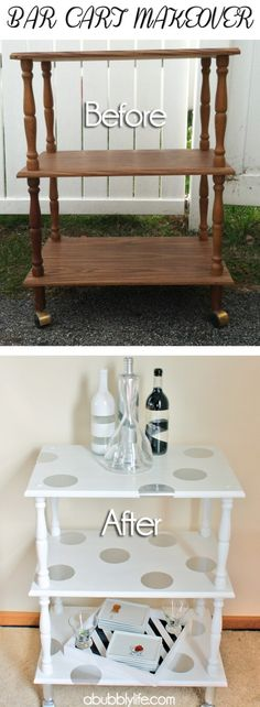 Bar cart makeover DIY project from a bubbly life, simple and easy to follow instructions with a cute description. We've never imagined a bar cart can be so cute and decorative, this is a perfect Sunday morning diy with a huge decor return for your home. Bar Cart Before & After Reveal & Polka...