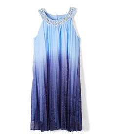 Look at this Denim Ombré Jewel-Accent Yoke Dress - Girls on #zulily today!