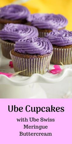 These ube cupcakes have delicate, moist crumbs infused with ube flavor. The ube swiss meringue buttercream is a perfect icing to match the softness of the light ube cake. #ubecake #ubecupcakes #purpleyam