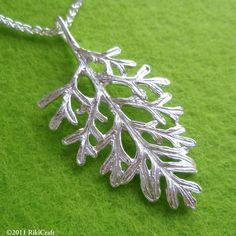 Fine Silver Pendant  Fernleaf Lavender by RikiCraft on Etsy - Lavender Dentata Leaf