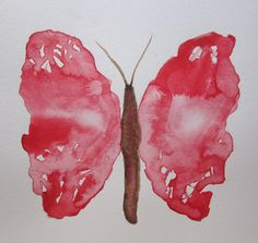 Original watercolor painting of a red butterfly