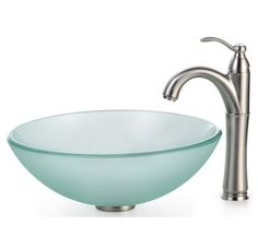 "View the Kraus C-GV-101FR-12mm-1005 Bathroom Combo - 16-1/2"" Frosted Glass Vessel Bathroom Sink with Vessel Faucet, Pop-Up Drain, and Mounting Ring at FaucetDirect.com."