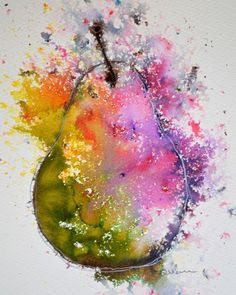 Pink Green Pear II - Watercolour on paper (Brusho)