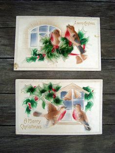 Antique Pair of 2 Christmas Postcards by SofiasCobwebMuseum..$10 for pair