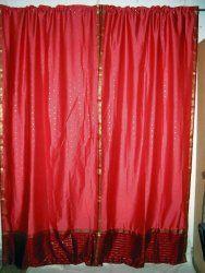 2 Peachypink Red Artsilk Sari Curtains Drapes Panels India 95$54.00