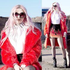 Kayla Hadlington - Topshop Red Coat, Goth Crop Shirt, Glitter Fishnets, Prada Sunglasses - NORM LIFE BABY