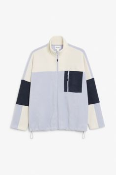 A super-soft, fleece jacket with a colour block pattern, a zip in the front and a stand-up collar. The model is 175 cm and is wearing a size S. Color Blocking, Colour Block, Pattern Blocks, Monki, Hoodies, Sweatshirts, Style Guides, Adidas Jacket, Collars