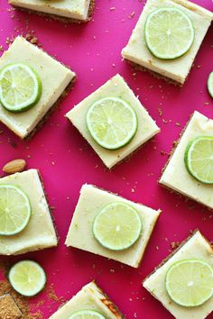 Creamy lime pie bars with an almond-oat crust and creamy, citrusy filling! Perfe… Creamy lime pie bars with an almond-oat crust and creamy, citrusy filling! Perfectly tart, naturally sweet, and so delicious! Baker Recipes, Pie Recipes, Vegan Recipes, Dessert Recipes, Sushi Recipes, Thai Recipes, Italian Recipes, Vegan Sweets, Vegan Desserts