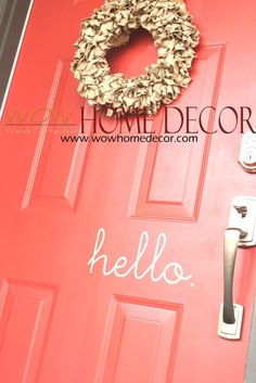 Vinyl Wall Decal Art - Hello Vinyl front door sign. Goodbye Bonjour Aloha Salut Welcome Bye See-ya by WOWhomedecor on Etsy https://www.etsy.com/listing/126848676/vinyl-wall-decal-art-hello-vinyl-front
