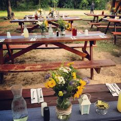 Daddy J Pavilion Picnic Tables Decorated In Beautiful Rustic Style For A  July Wedding. #