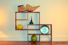 Vintage Mid Century Wood Shelf Wall Hanging Curio Display Cabinet Shelf Danish…