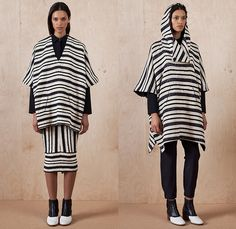 Zero + Maria Cornejo 2015 Pre Fall Autumn Womens Lookbook Presentation - Kimono Wrap Leggings Flowers Stripes Tunic Hoodie Jogger Structured Draped Outerwear Coat Silhouette Geometric Cuts Cardigan Flowers Florals Print Graphic Pattern Dress V-Neck Oversized Jacket Pencil Skirt Frock Poncho Sweatpants Elastic Hem Pants Trousers Blouse Pinafore Dress Chelsea Boots Angular Triangular Pockets Leather