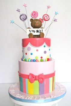 like the bottom layer to do with rolled out air heads with a fondant bow! Also like the gumballs around the two layers! Cute Cakes, Pretty Cakes, Fondant Cakes, Cupcake Cakes, Fondant Bow, Cake Pops, Key Lime Cake, Lollipop Cake, Teddy Bear Cakes