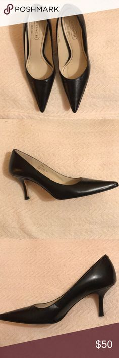 Coach Alison A3449 Black Heels Genuine Coach Alison A3449 black leather heels with pointed toe. The leather is in great condition, with small scuffing. The soles have some wear, but still durable. Coach Shoes Heels