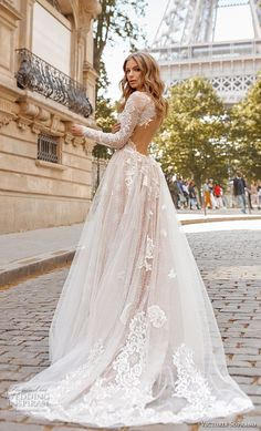 victoria soprano 2019 bridal long sleeves high neck heavily embellished bodice elegant princess a  line wedding dress open low back chapel train (12) bv -- Victoria Soprano 2019 Wedding Dresses | Wedding Inspirasi #wedding #weddings #bridal #weddingdress #bride ~