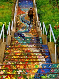 Fantastic and One of a Kind Mosaic Staircase in San Francisco    The 16th Avenue Tiled Steps project has been a neighborhood effort to create a beautiful mosaic running up the risers of the 163 steps located at 16th and Moraga in San Francisco. The project, led by artists Aileen Barr and Colette Crutcher, was completed on August 18, 2004 with the help of over 300 neighbors, and over 220 neighbors who sponsored handmade animal, bird and fish name tiles. The result is fantastic, do you agree?