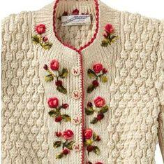 Dornroschen Sweater from Gorsuch : wool/silk.- Dornroschen Sweater from Gorsuch : wool/silk.- Dornroschen Sweater from Gorsuch : wool/silk. Embroidery On Clothes, Silk Ribbon Embroidery, Crewel Embroidery, Vintage Wool, Vintage Knitting, Knitting Stitches, Baby Knitting, Finger Knitting, Free Knitting