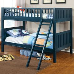 Update your children's bedroom with this twin-over-twin bunk bed from Furniture of America, finished in a beautiful blue color.  #bedroom #kids