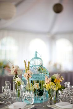 Tiffanycolored Birdcages  Wedding Centerpieces by trishmlopez, $175.00