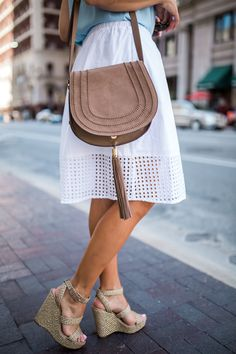 White eyelet skirt + wedges