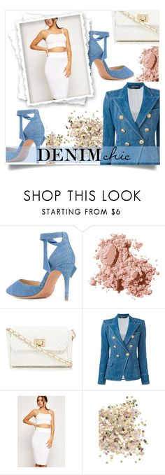"""Denim Chic"" by j-ivnv on Polyvore featuring Alexandre Birman, Bobbi Brown Cosmetics, Red Herring, Balmain, WearAll, Topshop, chic, denim, girly and Elegance"